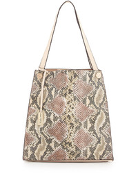 Beige Snake Leather Tote Bag