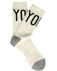 Yohji Yamamoto Logo Intarsia Cotton Blend Socks