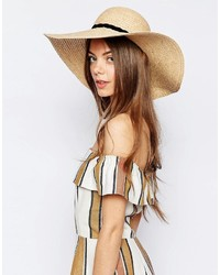 Asos Collection Natural Straw Floppy Hat With Braid Mix Band