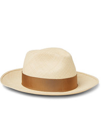 Borsalino Grosgrain Trimmed Straw Panama Hat