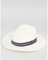 Asos Straw Panama Hat With Contrast Band