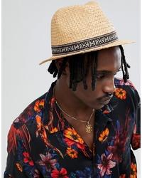 ASOS DESIGN Wide Brim Straw Hat With Aztec Band