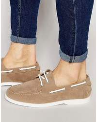 Boat shoes in stone faux suede with white sole medium 755434