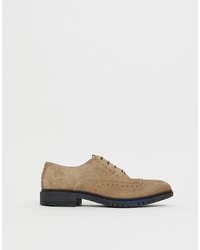 Tommy Hilfiger Flexible Dressy Brogue Suede Shoes In Beige