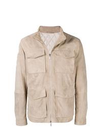Beige Suede Field Jacket