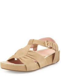Beige Suede Flat Sandals