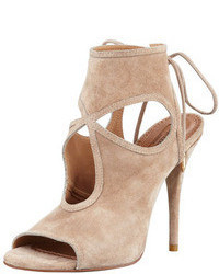 Beige Suede Heeled Sandals