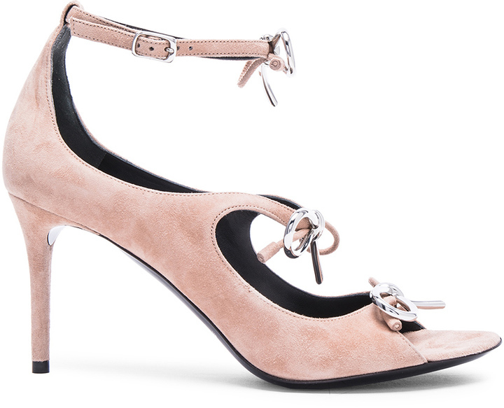 6adc1d6263c5 ... Balenciaga Suede Bow Sandals In Sienne Beige ...