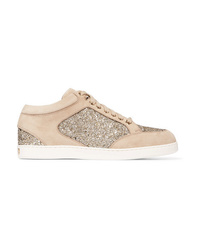 Jimmy Choo Miami Glitter Paneled Suede Sneakers