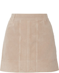 Beige Suede Mini Skirt