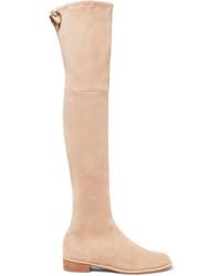 Lowland suede over the knee boots beige medium 1248805
