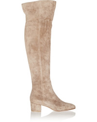 Suede over the knee boots beige medium 1248807