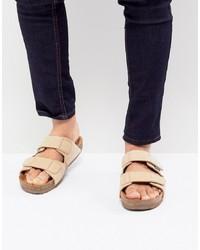 Eastland Caleb Double Strap Suede Sandals In Beige