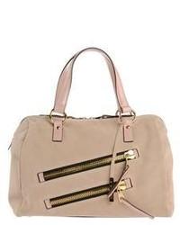 Beige Suede Satchel Bag