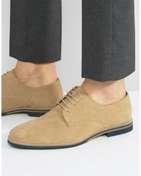 Asos Lace Up Shoes In Stone Suede With Contrast Sole