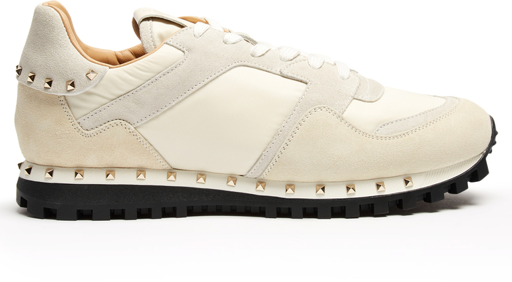ba3e36c6a8a8b COM › Valentino › Beige Suede Sneakers Valentino Rockrunner Suede Panelled  Trainers