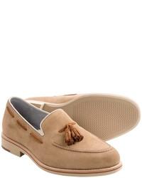 Beige Suede Tassel Loafers