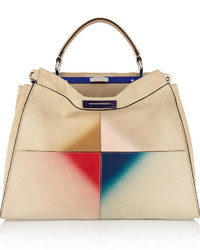 Fendi Peekaboo Large Patent Leather Trimmed Suede Tote Cream