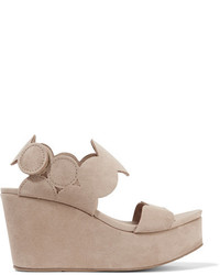 Pedro Garcia Dyane Suede Wedge Sandals Neutral