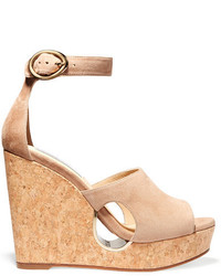 Jimmy Choo Neyo Suede Wedge Sandals Beige
