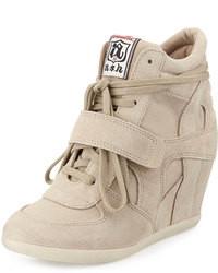 Beige Suede Wedge Sneakers