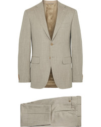 Canali Beige Capri Slub Wool Silk And Linen Blend Suit