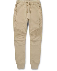 Balmain Tapered Biker Style Cotton Jersey Sweatpants