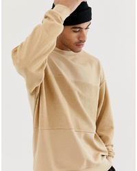 ASOS DESIGN Oversized Sweatshirt With Reverse Panel In Beige