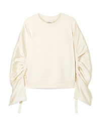 3.1 Phillip Lim Ruched Med Satin Twill And Cotton Jersey Sweatshirt