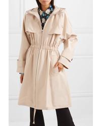 Prada Hooded Cotton Blend Poplin Trench Coat