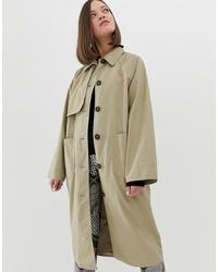 Monki Lightweight Coat With Oversized Pockets In Beige