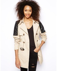 Vero Moda Quilted Belted Trench Beige