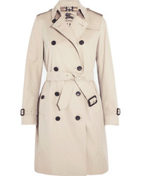 Burberry The Kensington Long Cotton Gabardine Trench Coat Beige