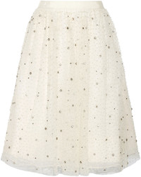 Beige Tulle Full Skirt