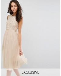 Beige Tulle Midi Dress