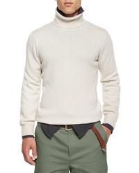 Cashmere turtleneck sweater cream medium 334097