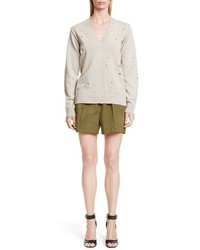 Givenchy Destroyed V Neck Cashmere Sweater