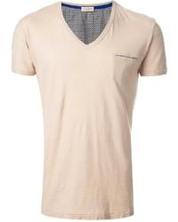 Beige V-neck T-shirt