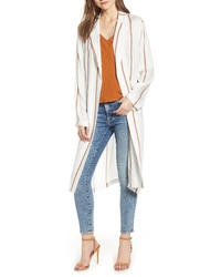 Beige Vertical Striped Duster Coat
