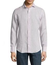 Beige Vertical Striped Long Sleeve Shirt