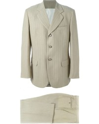 Beige Vertical Striped Suit