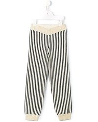 Beige Vertical Striped Sweatpants