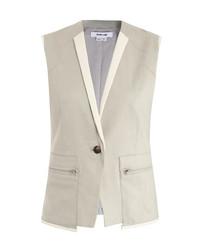 HELMUT LANG Leather Trim Linen Waistcoat