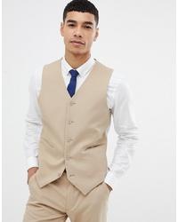 ASOS DESIGN Skinny Suit Waistcoat In Camel