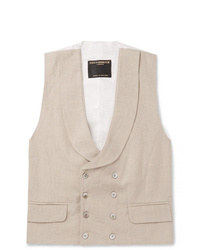 Favourbrook Stone Evering Double Breasted Linen Waistcoat