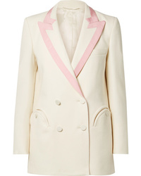 Blazé Milano Everyday Double Breasted Silk Trimmed Wool Crepe Blazer