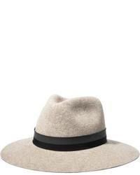 Rag & Bone Range Grosgrain Trimmed Wool Felt Fedora Beige