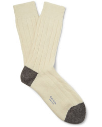 Two tone ribbed wool blend socks medium 729481