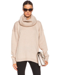 Demi mix turtleneck sweater in beige medium 107944