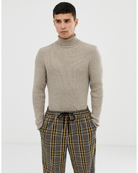 Collusion Muscle Fit Ribbed Roll Neck In Tan Twist